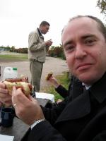 Dan loves the hotdog!